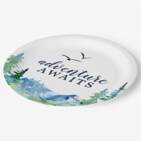 Rocky Mountain Adventure Awaits Baby Shower Paper Plate