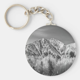 Rocky Mountain Autumn High In Black and White Keychain