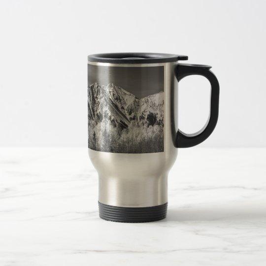 Rocky Mountain Autumn High In Black and White Travel Mug