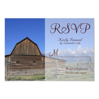 Rocky Mountain Barn Country Wedding RSVP Cards Custom Invite