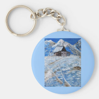 Rocky Mountain Cabin Keychain