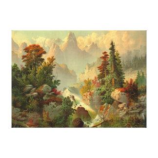 Rocky Mountain Cascade 1879 Canvas Print