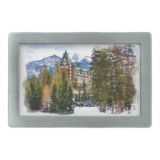 Rocky Mountain Castle - Banff Canada Rectangular Belt Buckle