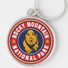 Rocky Mountain Circle Red Keychain
