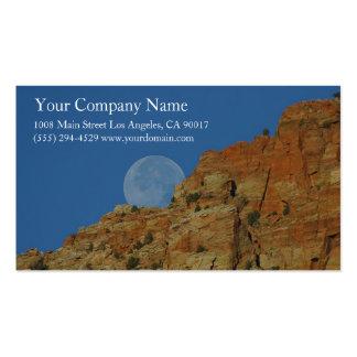 Rocky Mountain Cliffs Moon Canyon Blue Sky Business Card Templates