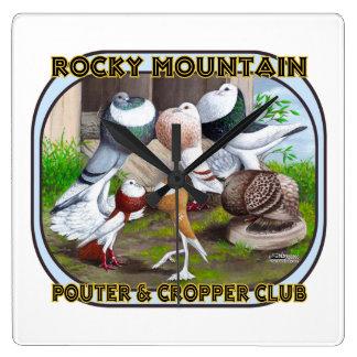 Rocky Mountain Club Logo Square Wallclock