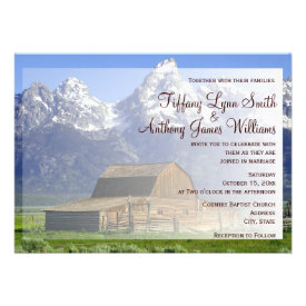 Rocky Mountain Country Barn Wedding Invitations Custom Invites