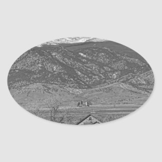 Rocky Mountain Country View Black And White Oval Stickers