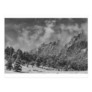 Rocky Mountain Dusting Of Snow Boulder Colorado BW Post Card