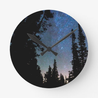 Rocky Mountain Forest Night Round Clock