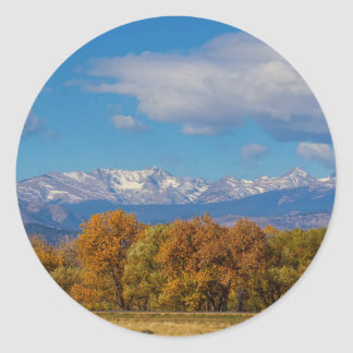 Rocky Mountain Front Range Colorful View Classic Round Sticker