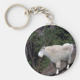 Rocky Mountain Goat-alert billy on mountainside Basic Round Button Keychain