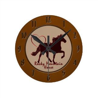 Rocky Mountain Horse Hearts Round Clock