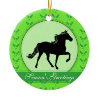 Rocky Mountain Horse Holly Season's Greetings Christmas Tree Ornaments