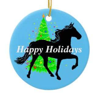 Rocky Mountain Horse Silhouette Happy Holidays Christmas Ornament