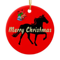 Rocky Mountain Horse Silhouette Merry Christmas Christmas Tree Ornaments