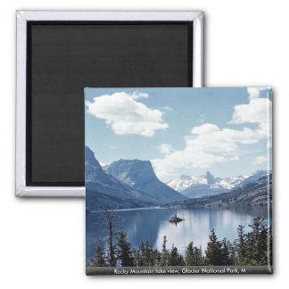 Rocky Mountain lake view, Glacier National Park, M 2 Inch Square Magnet