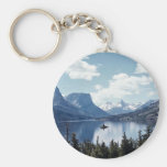 Rocky Mountain lake view, Glacier National Park, M Basic Round Button Keychain