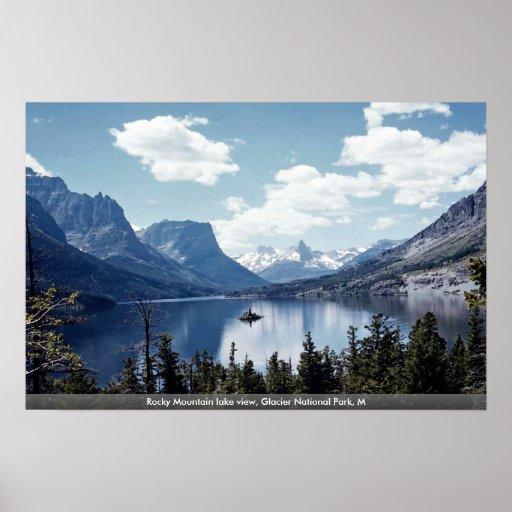 Rocky Mountain lake view, Glacier National Park, M Posters