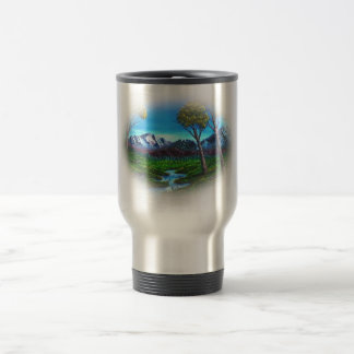 Rocky Mountain Landscape Stream | Trees Forest Travel Mug