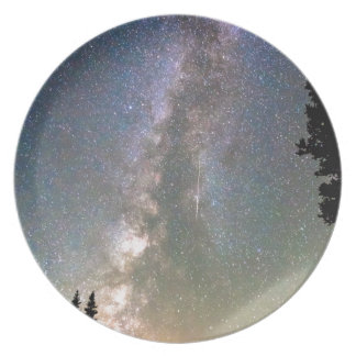Rocky Mountain Milky Way and Falling Star Dinner Plate