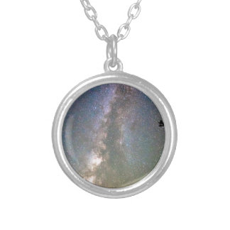 Rocky Mountain Milky Way and Falling Star Round Pendant Necklace