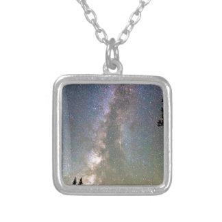 Rocky Mountain Milky Way and Falling Star Square Pendant Necklace