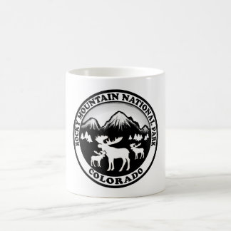 Rocky Mountain Nat Park black white circle Coffee Mug