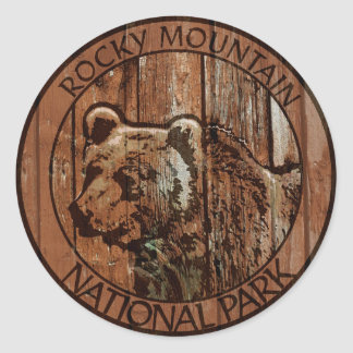 Rocky Mountain National Park wooden bear Classic Round Sticker