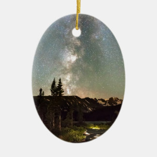 Rocky Mountain Night Double-Sided Oval Ceramic Christmas Ornament