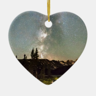Rocky Mountain Night Double-Sided Heart Ceramic Christmas Ornament