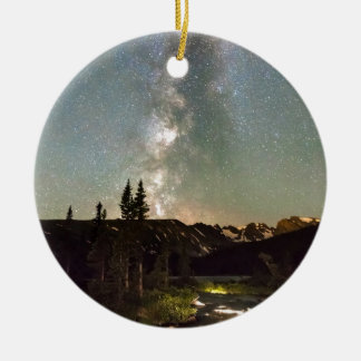 Rocky Mountain Night Double-Sided Ceramic Round Christmas Ornament