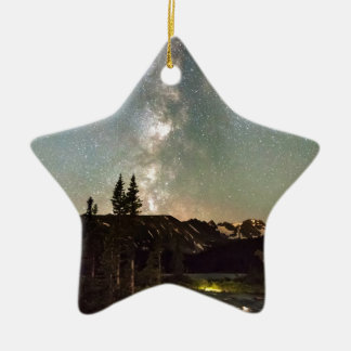 Rocky Mountain Night Double-Sided Star Ceramic Christmas Ornament