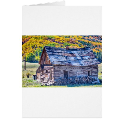Rocky Mountain Rural Rustic Cabin Autumn View Card