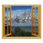 Rocky Mountain Snow Top Window View Poster