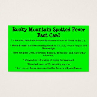 Rocky Mountain Spotted Fever Fact Card
