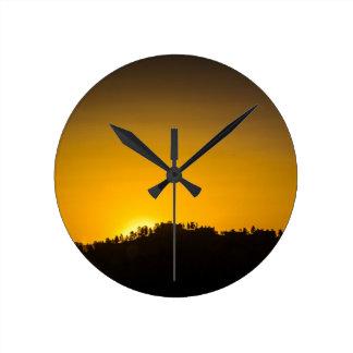 Rocky Mountain Sunset Round Clock