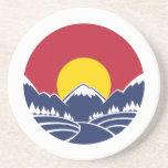Rocky Mountain Sunset Logo Beverage Coasters
