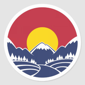 Rocky Mountain Sunset Logo Classic Round Sticker