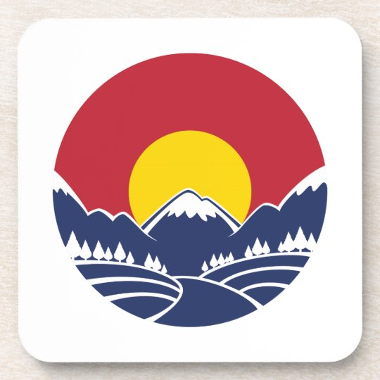 Rocky Mountain Sunset Logo Coaster
