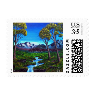 Rocky Mountain Trees Stream Painting Postage