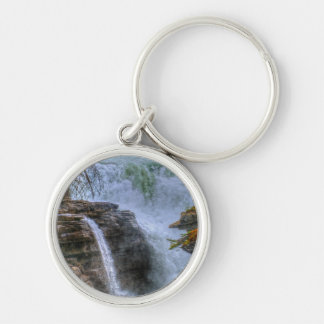 Rocky Mountain Waterfall Nature Photo Silver-Colored Round Keychain