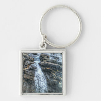 Rocky Mountain Waterfall Nature Photo Silver-Colored Square Keychain