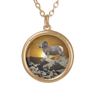 Rocky Mountain Wild Big Horn Sheep & Sunset Gold Plated Necklace