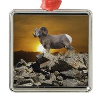 Rocky Mountain Wild Big Horn Sheep & Sunset Metal Ornament