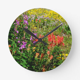 Rocky Mountain Wildflowers Round Clocks