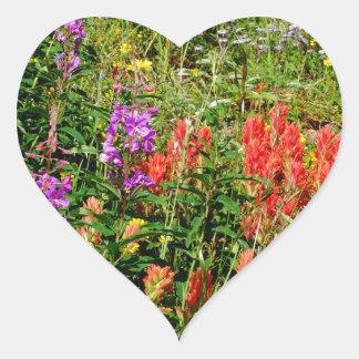 Rocky Mountain Wildflowers Heart Sticker