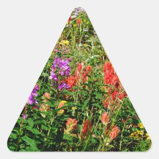 Rocky Mountain Wildflowers Triangle Sticker