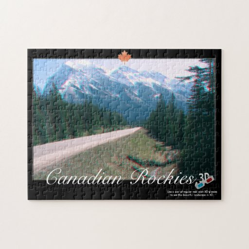 Rocky Mountains Canada 3D Anaglyph Puzzle