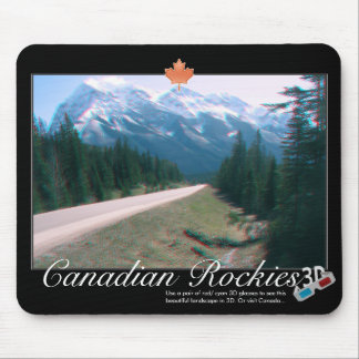 Rocky Mountains Canada 3D Red Cyan Anaglyph Photo Mouse Pad